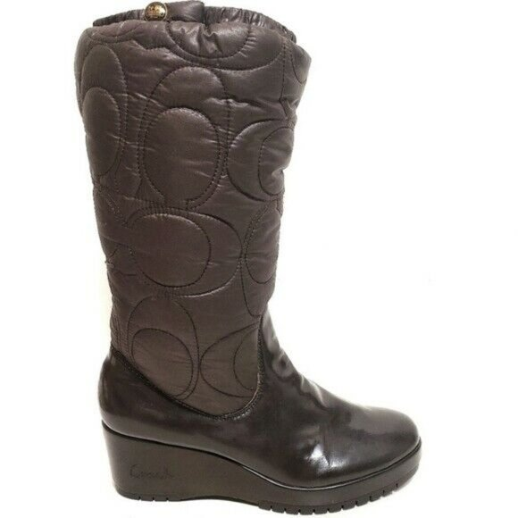 Coach Cantina Quilted Puffer Wedge Boots B…